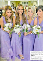 Yes Yes Yes 2014 New Fashion Sexy Floral V-Neck Greek Goddess Sheath Floor Length Lilac Chiffon Cheap Summer Beach Bridesmaid Party Dresses