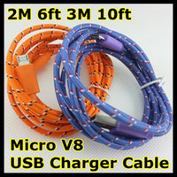 Wholesale Braided Woven Charger Cable for Samsung Extension Micro V8 USB M ft M ft Charging Wire Data Sync Cloth Colorful Cord for Blackberry HTC