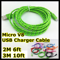 Wholesale Micro USB Braided Charger Cable for Samsung Extension Woven M M ft M ft Wire Data Sync Nylon Line pin Cords for Blackberry HTC Nokia