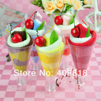 Wholesale Wedding Cake couple birthday gift tip cup ice cream towel birthday ice cream cotton Cake Towel cm