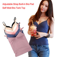 Wholesale Modal Adjustable Spaghetti Strap Tank Tops Built In Bra Padded Self Mold Bra Tank Top Camisole Women Bodybuilding Vest White Purple Pink