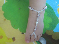 Women's baby anklets - Handmade Baby Beach barefoot sandals kids stretch anklet for years old baby pair
