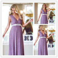 Wholesale New V neck Lace Sashes Pleated Chiffon Long Formal Bridesmaid Maternity Dresses
