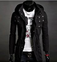 Unisex army jacket trend - high quality black Men s Hoodie men s Jacket SWEATER Men s coat Cotton Hooded Coat Korean Trend in long jacket men coat