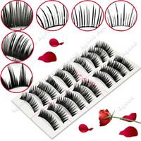 black eyelash glue - New Pair Style Long False natural Eyelashes Eyelash Eye Lashes Pro Glue Waterproof