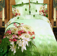 Adult Printed Twill New Arrivals 3D Effect AB Pattern Vivid Colour Oil Painting Cotton Reactive Twill Print Flowers Printed Bedding Set Quilt Pillow Cover Sheet
