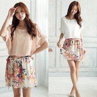 Wholesale Hot Sweety Women Lady Mix Floral Chiffon Mini Dress Pleated Short Skirt Summer