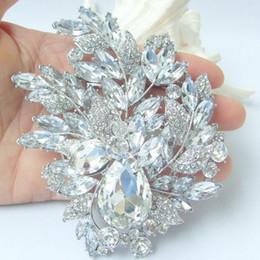 Gorgeous Bridal Leaf Flower Brooch Pin w Clear Rhinestone Crystals EE04672C8