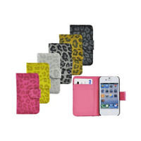 leather  For Apple iPhone For Christmas Flip Leather Credit Card Wallet Leopard Print Case Cover For iPhone 4 4G 4S dhl 100pcs lot