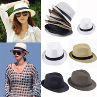 Wholesale S5Q Unisex Beach Sun Straw Panama Hats Trilby Gangster Summer Cap For Men and Women AAACBE
