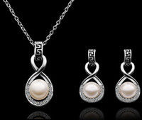 Wholesale Fashion pearl jewelry sets New Arrival K White Gold Plated Pearl Jewelry sets Necklace earring S320 with tracking number