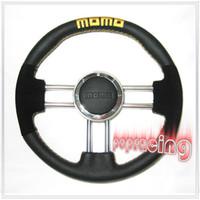 Wholesale COOL MM MOMO V6 Leather SUEDE Racing Sport Car Steering Wheel