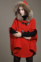 Wholesale Princess Style Women Poncho Fur Hooded Winter Coat Ladies Cape Outerwear