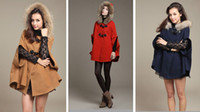 Wholesale Princess Style Women Poncho Fur Hooded Winter Coat Ladies Cape Outerwear