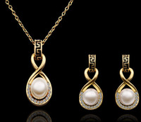 Wholesale Fashion pearl jewelry sets New Arrival K Gold Plated Pearl Jewelry sets Necklace earring S322 with tracking number