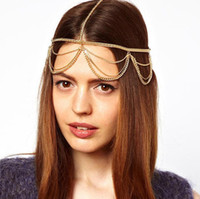 Wholesale Womens Multilayer Chains Headbands Jewelry Girls Plated Gold Tassel Hair Band The New