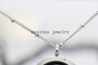 Wholesale 316L stainless steel ball station chain necklace for floating charm glass locket xmas mother