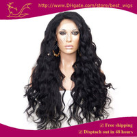 Wholesale hot selling b color natural black Synthetic Lace Front wig water wave cheap long wavy wigs for american black women