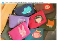 Coin Purses Women 7 colors Wholesale - S size cartoon animals Felt zero bag coin purse bag 7 design  New korean animal series felt   Portable coin Wallet