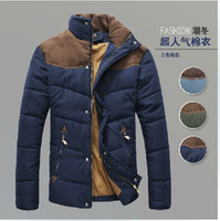 Wholesale 3010 New Fashion Men s Winter Warm Coat Casual Slim hit the color stitching simple thickening Jacket Outwear