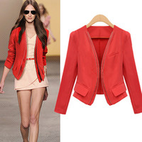 Wholesale women s double zipper women short paragraph small suit jacket waist big yards