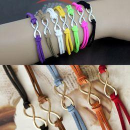 Wholesale 199 women girls fashion lovely jewelry gold silver infinity eternity shape adjustable leather rope chain friendship wish charm bracelets