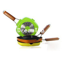 Wholesale 20cm Square Non stick Frying Pan For Beef Steak Inductiion amp Gas Folding Handle Color