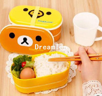 Wholesale Cute Rilakkuma Bento Box Double Layer cm Plastic Lunch Box With Chopsticks Microwave Oven Available