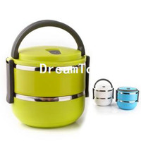 Ceramic Dinnerware Sets Eco-Friendly,Stocked Double Layer Stainless Steel Children Lunch Box 1.4L Keep Warm Food Container For Kids