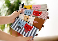 Wholesale Handmade Bag Hot Cartoon Stripe Cats Pen Pouch Bag Pencil Case Pen Bag