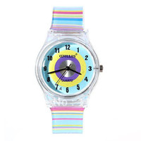 Leather Wristwatches China (Mainland) Wholesale 6018 Round Shaped Blue Watch Dial Colorful Rainbow Plastic Cement Watchband Women's and Kid's Wrist Watch
