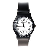 Analog Leather Wristwatches Wholesale 6018 Round Shaped Watch Dial Plastic Cement Watchband Wrist Watch (Black)