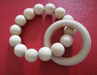 Wholesale Round wooden beads New Wooden Teething Ring Teething Toy Montessori Inspired Organic Baby Toy NT014