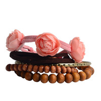 Unisex Wood Traditional Charm Popular Style 5pcs in set Fashionable Wooden Bead Bracelet Simple Style(10 sets per lot)