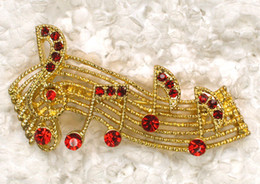 12pcs lot Wholesale Crystal Rhinestone Musical note Pin Brooch Fashion Costume Brooches party jewelry gift C279