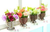 179094 artificial hibiscus flowers - 1set Artificial hibiscus bouquets bowl vase slik flowers plants for Wedding Party Home Decoration gift craft arrangement