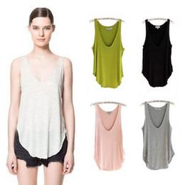 Wholesale Fashion Summer Woman Lady Sleeveless V Neck Candy Vest Loose Tank Tops T Shirt