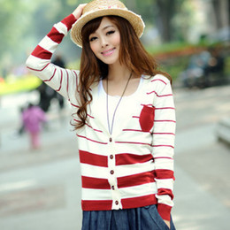 Wholesale 2013 Autumn Korean striped knit long sleeved V neck cardigan women sweater ladies wild