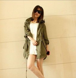 Wholesale trench coat Womens Hoodie Drawstring Army Green Military Trench Parka Coat Jumper Q3