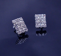 Wholesale pairs X Crystals Clip on Earring Square Rectangular Shape Clear Color No Piercing