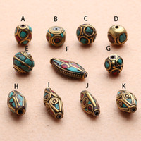 Wholesale Diy accessories copper beads handmade red coral turquoise inlaying beaded