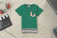 Round Neck Boy Summer Free Shiping Baby boys t-shirts character pure colour short sleeves cotton printing summer cool children clothes wholesale4pcs lot