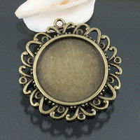 Wholesale 6pcs antiqued bronze color round rim cabochon settings EF0596
