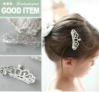 Wholesale Children Girls Crown Headdress Hair Clips Barrettes kids Tiara Hairpin Rhinestone Princess Tiara Hair Clip Blingbling Hair Jewelry