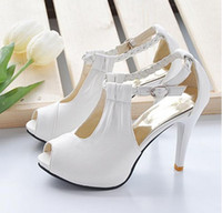 Wholesale wedding shoes with braided strap high heel bridal shoes platform sandals white beige and black bridesmaid shoes party shoes