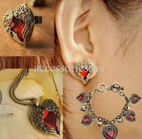 Wholesale Vintage Retro Ruby Peach Heart Wings Jewelry Sets Necklace Rings Earrings Bracelets