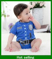 Girl baby clothes police - Baby One Piece Romper boys girls Police style Romper pink red blue children Rompers Fireman Clothes