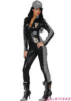 People Occupational Sexy Wholesale Retail - 2013 Sexy Overall Front Zip Faux Leather Jumpsuit Drillmaster Racer Costumes For Women Halloween Party Free Shipping