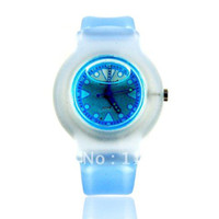 Analog Rubber Wristwatches Wholesale 9992 Round Shaped Watch Dial Plastic Cement Watchband Women's and Kid's Liquid-filled Wrist Watch (Blue)