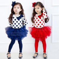 Girl Spring / Autumn Long Children Spring Autumn Clothing Set Wave Point Long Sleeve Top T shirt + Net Yarn Ball Gown Tutu Dress Leggings Girls Set Kids Suit QS474